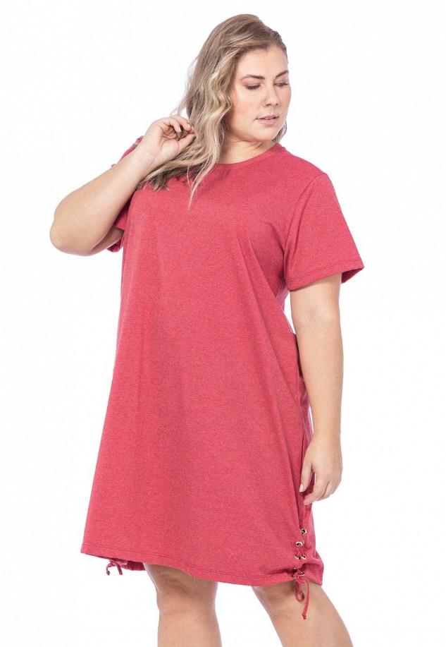 Vestido Feminino Liso com Detalhes em Ilhós